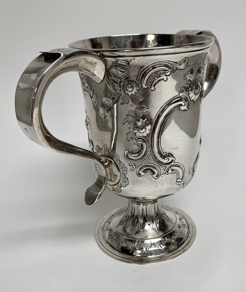 English Sterling Silver Vase / Trophy in Repousse Design from the 19th Century