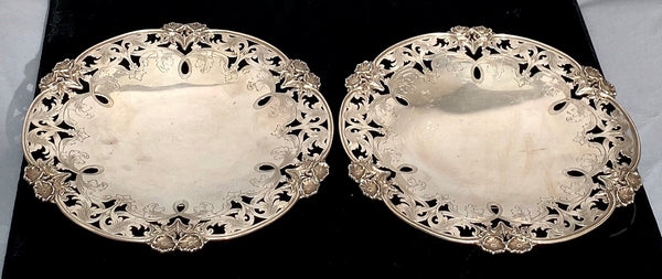 Sterling Silver Lebkuecher & Co Floral Pattern Trays/ Dishes