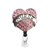 Pink Nurse Heart Sparkle and Shine Rhinestone Badge Reel