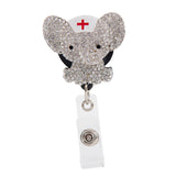 Nurse Elephant Sparkle and Shine Rhinestone Badge Reel