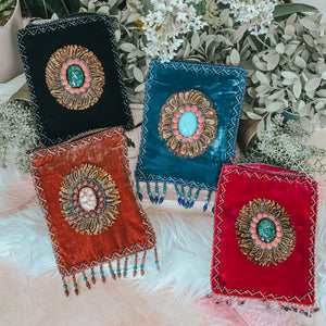 Silk Velvet Bohemian Crossbody Bag (Vertical)