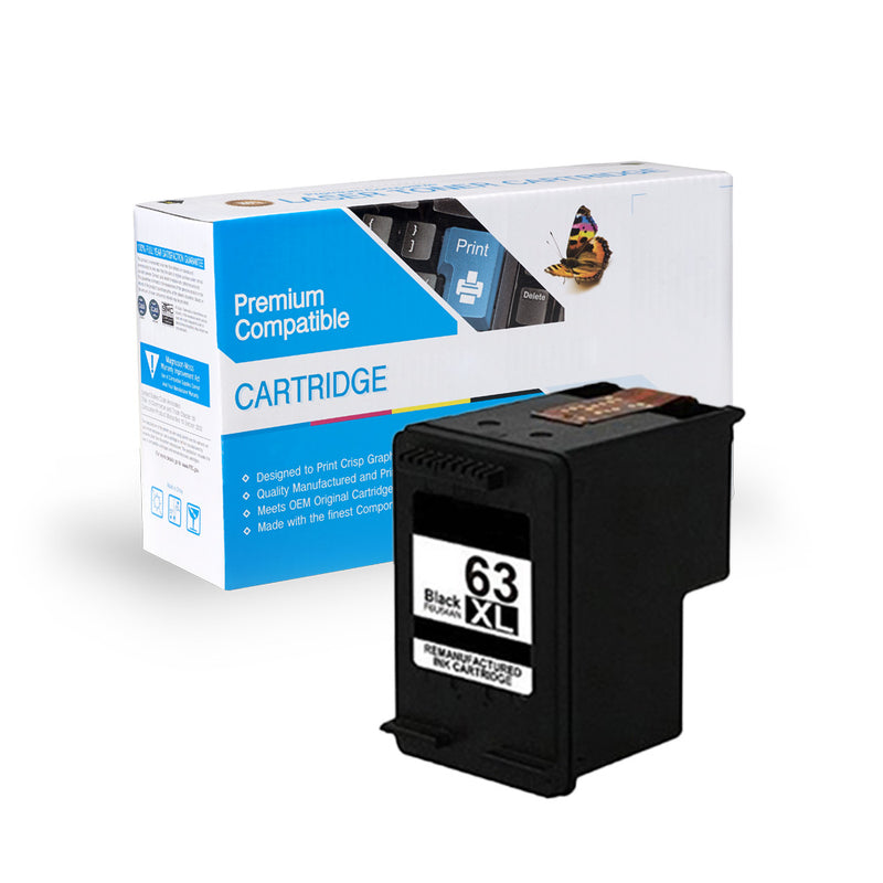 HP F6U64AN, 63XL REMANUFACTURED INK- BLACK
