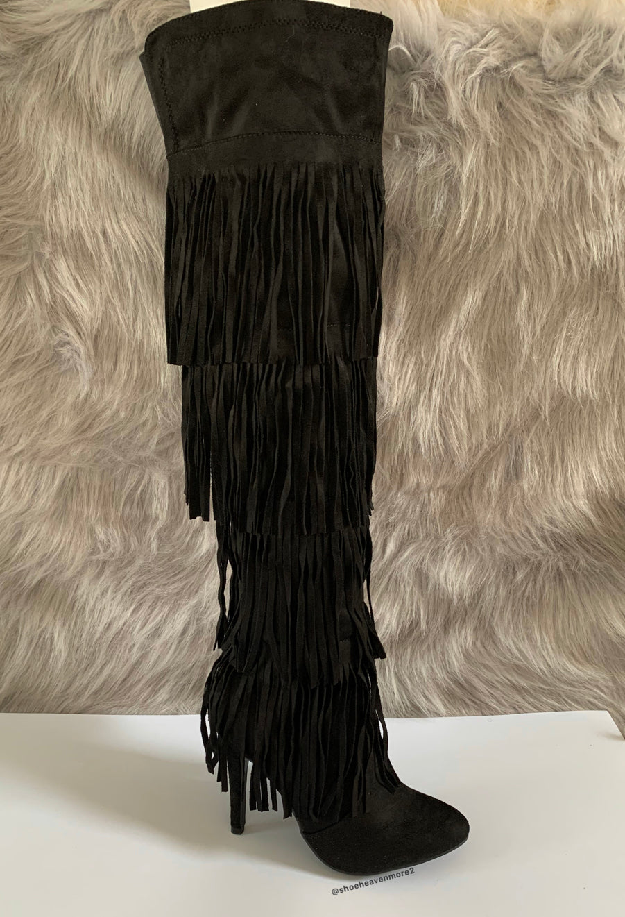Black Fringe Thigh High Boots