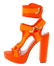 Load image into Gallery viewer, Keandra07 Orange Strap Heel