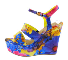 Load image into Gallery viewer, Choice-24 Blue Floral Wedge