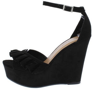 Choice30m Black Ruffle Wedge Heels