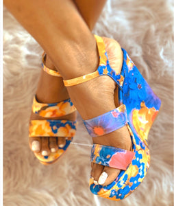 Choice-24 Blue Floral Wedge