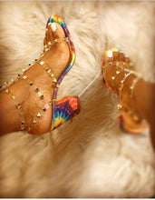 Load image into Gallery viewer, Britney- 216 Tie Dye Rainbow Studded Strappy Heel