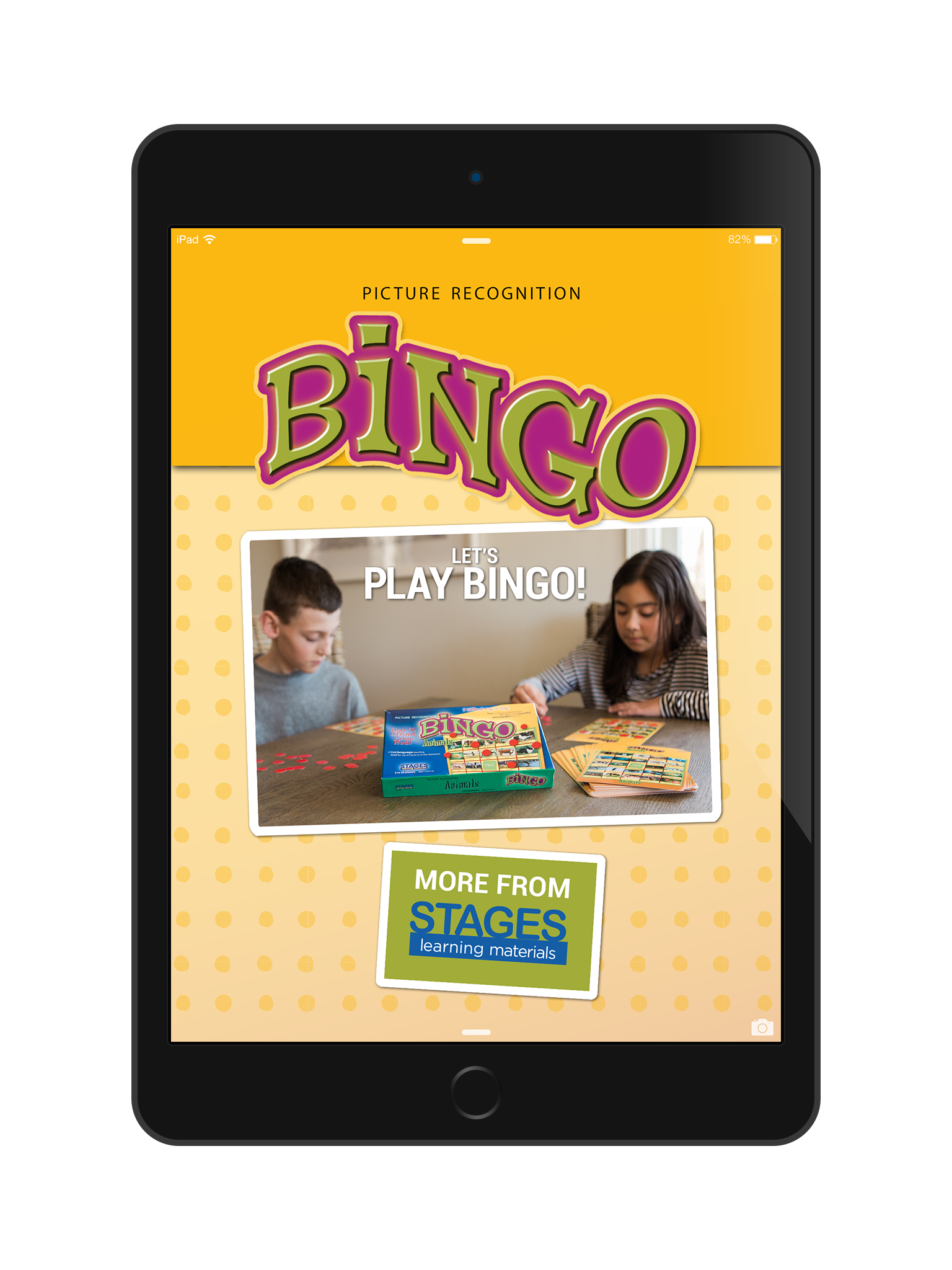 Screenshot of Bingo Home Screen in an iPad