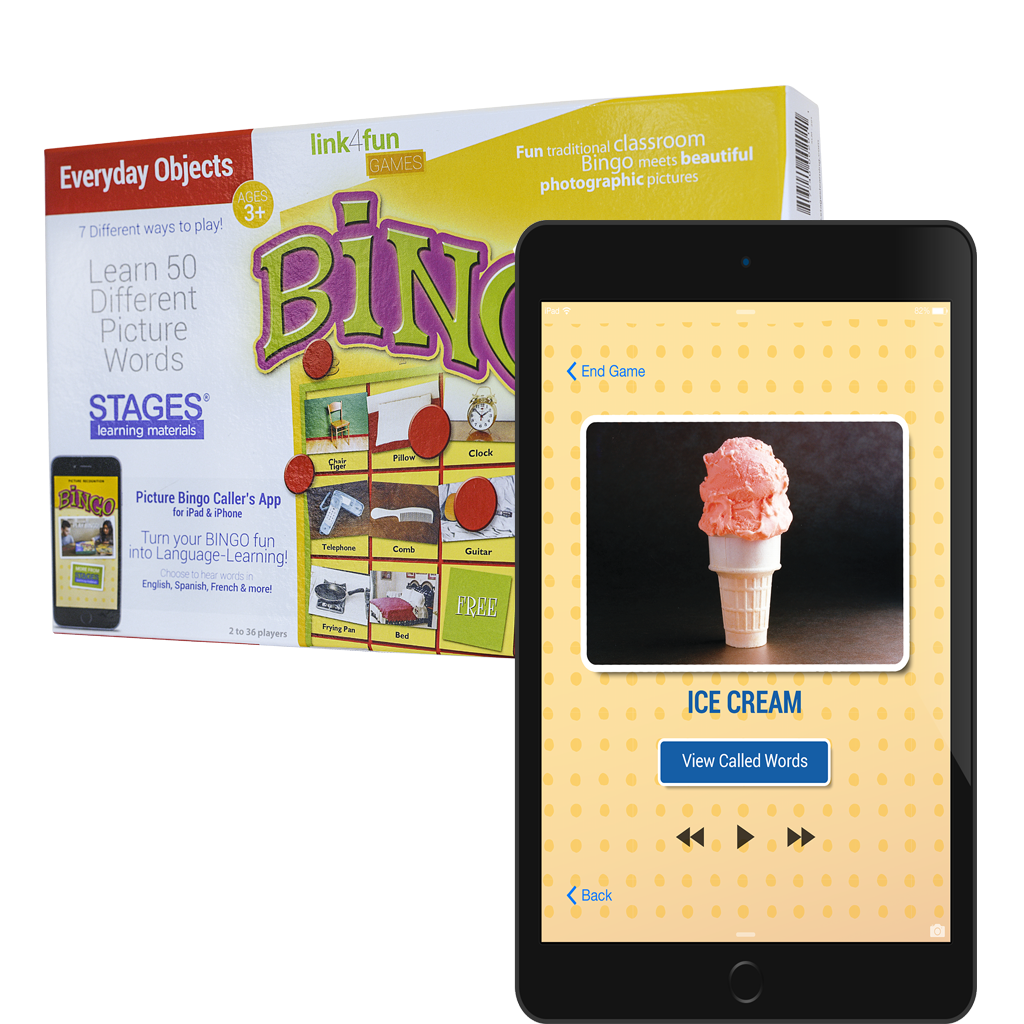 Picture Recognition Bingo Game Box with iPhone showing Bingo Caller's Screen in front. Screen shows a picture of an ice cream cone, with the word ice cream under it, and control functions to play the word again or move on to the next word.