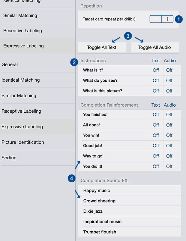 Screenshot of the settings panel for identical matching