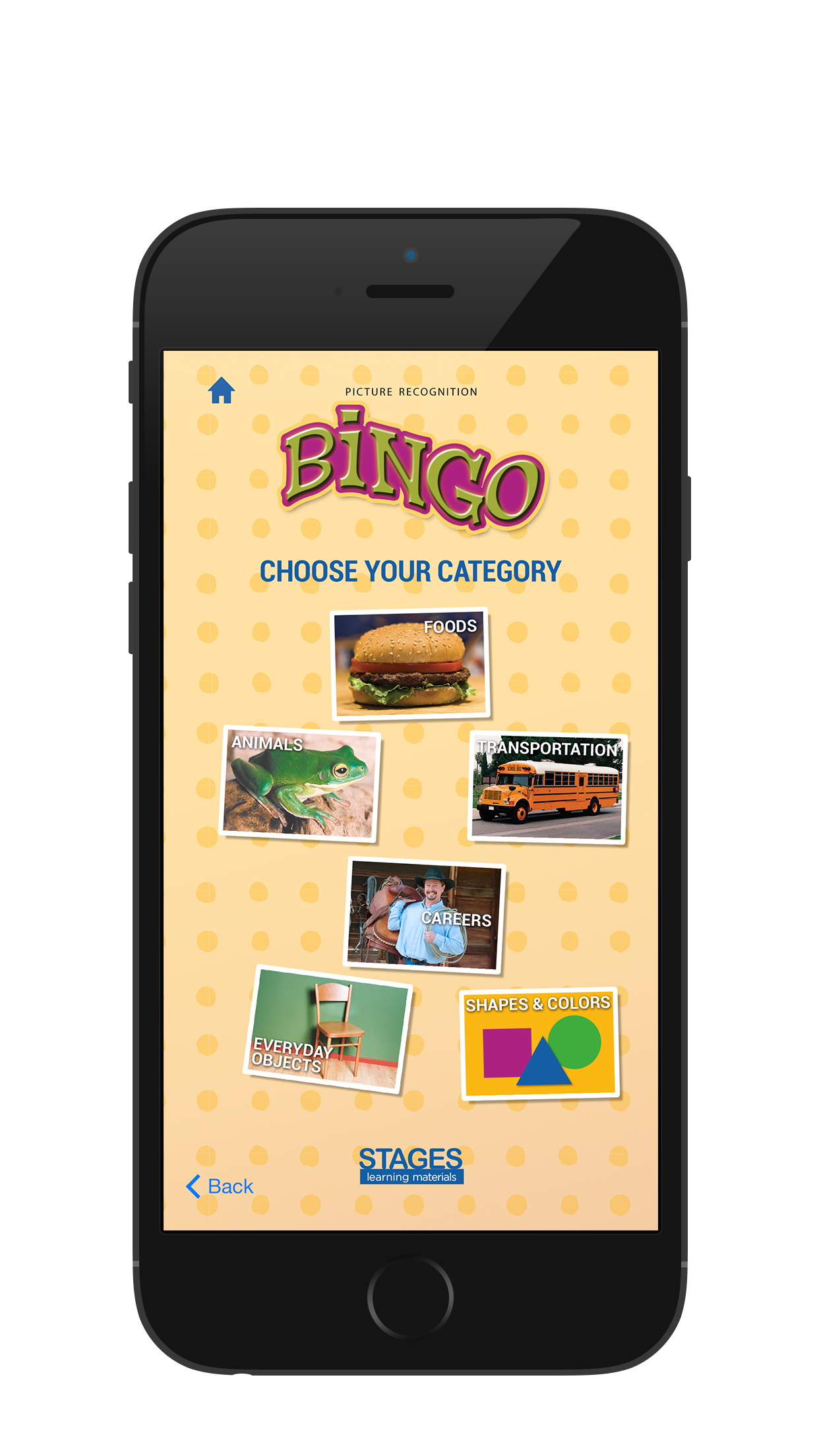 SScreenshot of the Bingo Caller's App Category Choice in iPad
