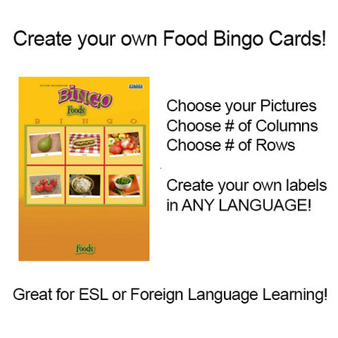 Print Custom Fun Foods Bingo Cards