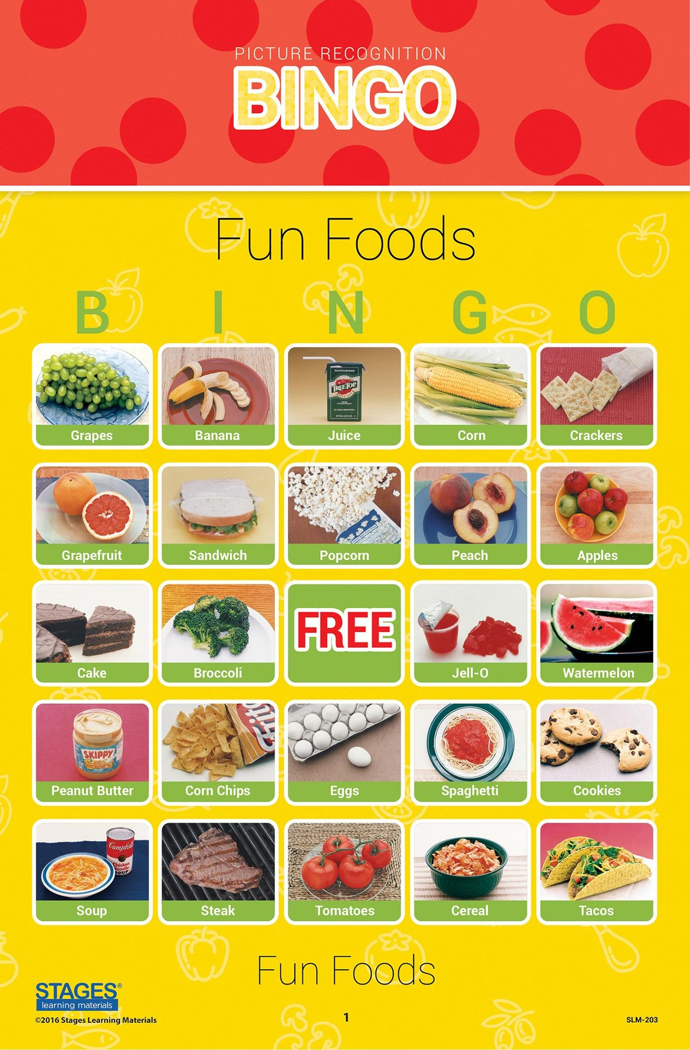 Fun Foods Bingo Game Stages Learning Materials