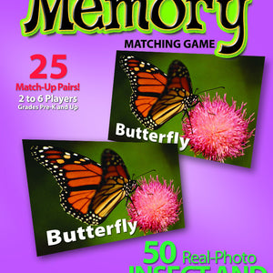 Insects and Bugs Memory Game to promote early sight reading
