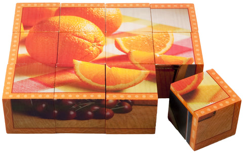 Fruit Cube Puzzle for hand-eye coordination and spatial awareness practice