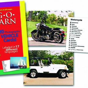 Lang-O-Learn Vehicles Cards- motorcycle and jeep