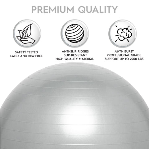 "Weighted Yoga/Balance Ball Chair For Kids and Adults Up to 5'6"" Tall- Silver"