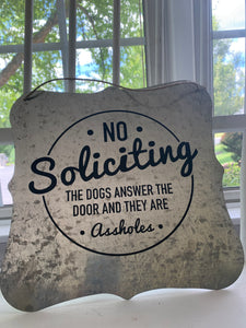 Galvanized Dog Bark Sign