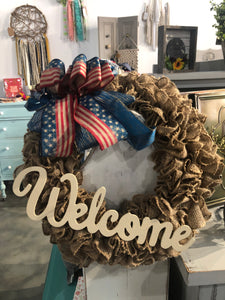 Patriotic Burlap Wreath