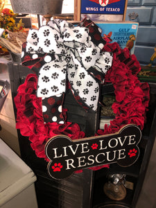 Live, Love, Rescue Wreath