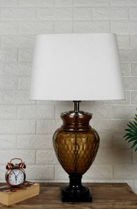 Strawberry Drop Table Lamp with Trapezium White Lampshade