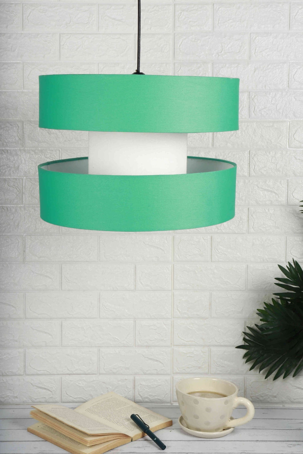 green hanging lampshade