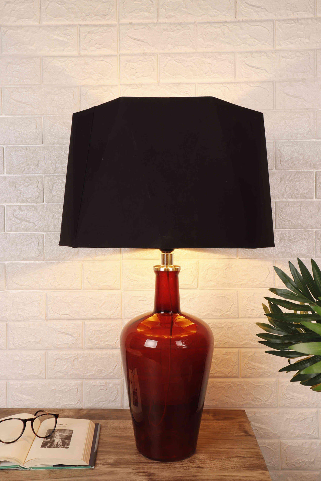 Trendy Hexagon Black Lampshade Merlot Red Table Lamp
