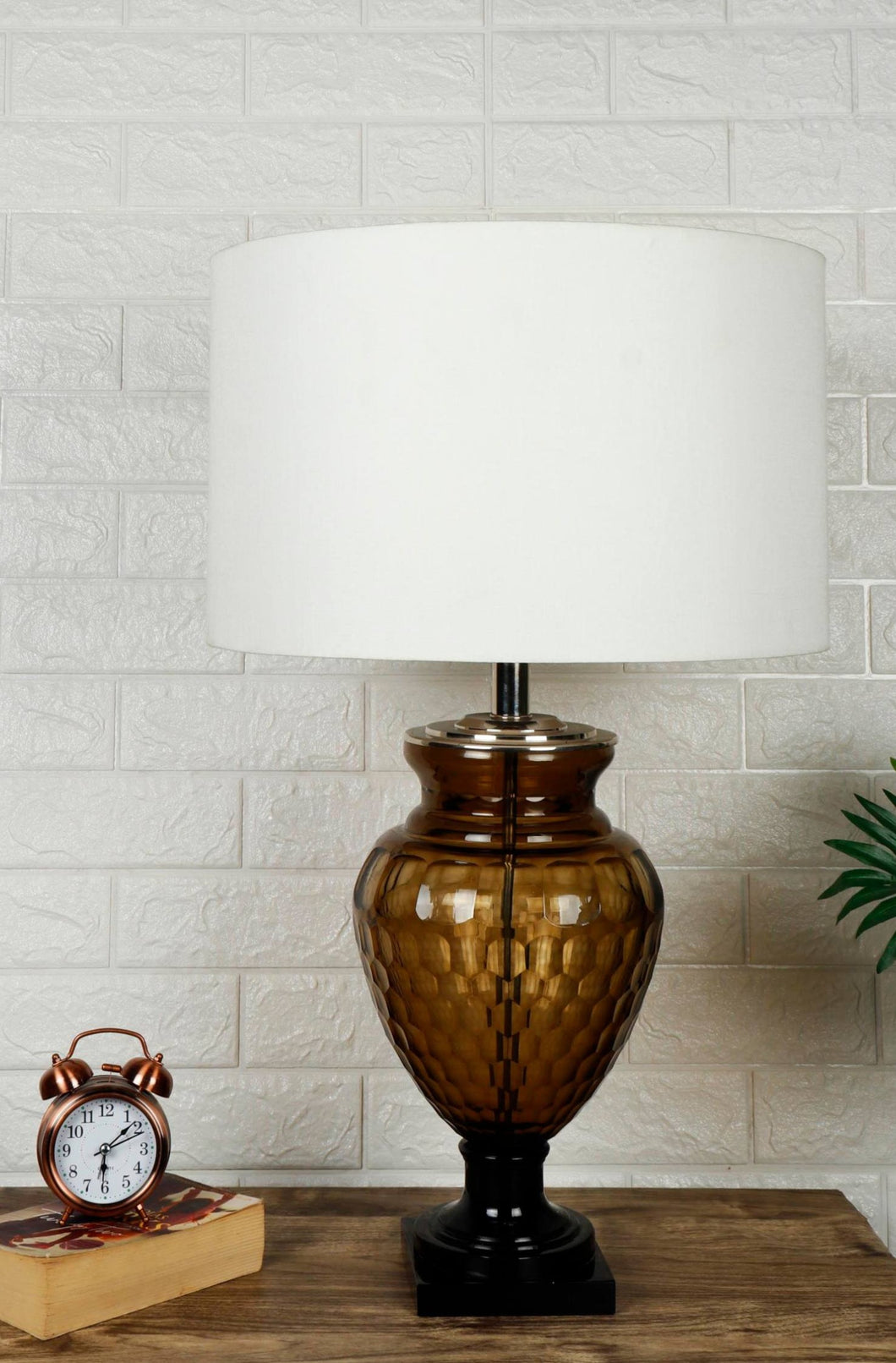 Strawberry Drop Table Lamp with Round White Lampshade