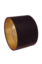 Load image into Gallery viewer, Brown Velvet Drum Lampshade (14 inches)