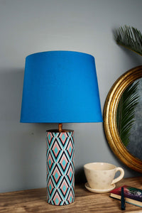 Phantom Table Lamp with 3 [GREY, SKY BLUE, PINK] Tapered Lampshade