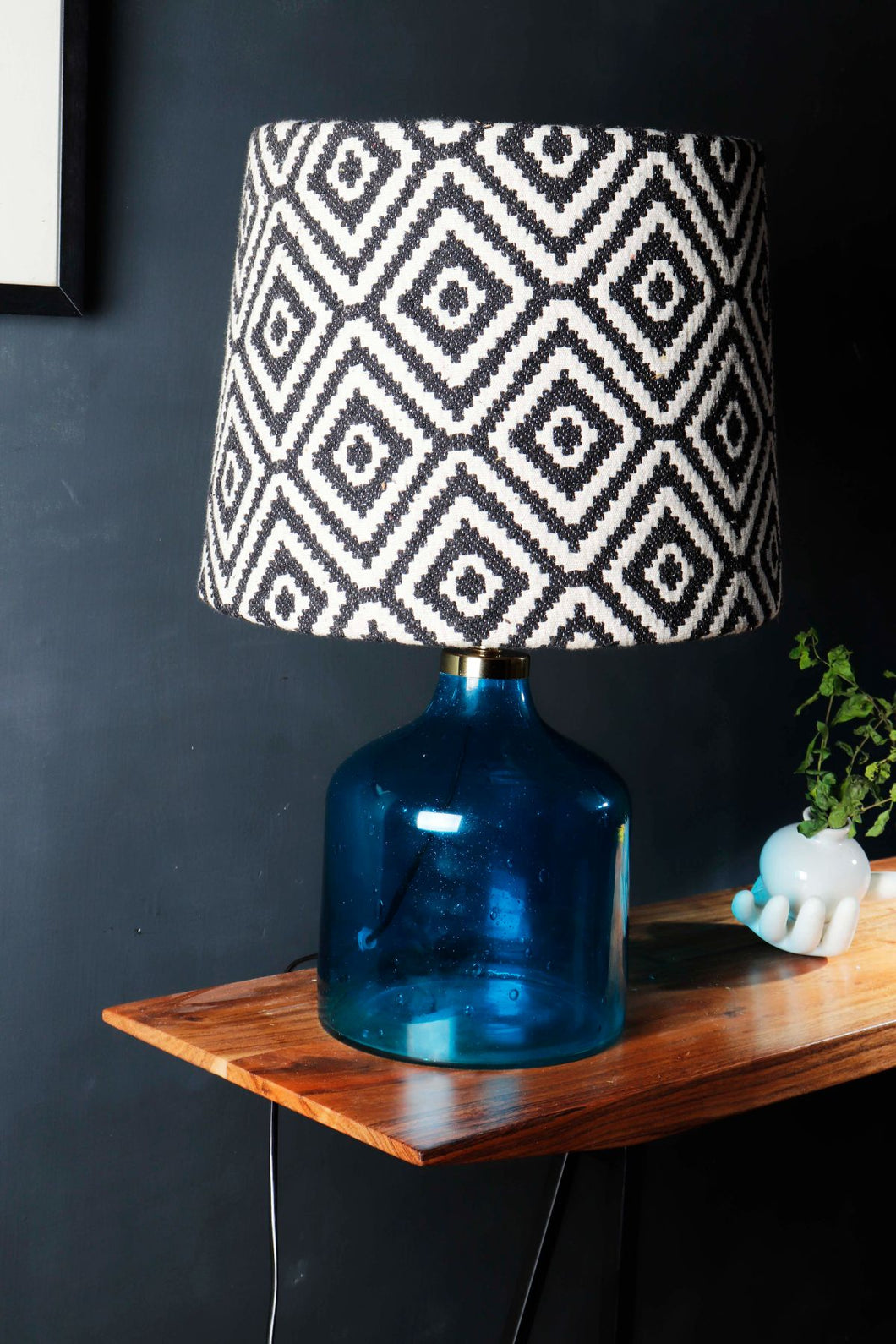 Aqua Table Lamp with Black Printed Designer Lampshade