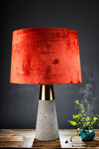 Rocky Road Table Lamp with 3 [BLACK, GREEN VELVET, RUGGED ORANGE] Shade