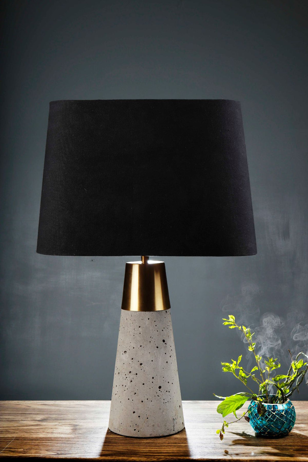 Rocky Road Table Lamp with 2 [BLACK, GREEN VELVET] Lampshade