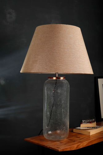 Fizz Jar Table Lamp with Frustum Beige Lampshade