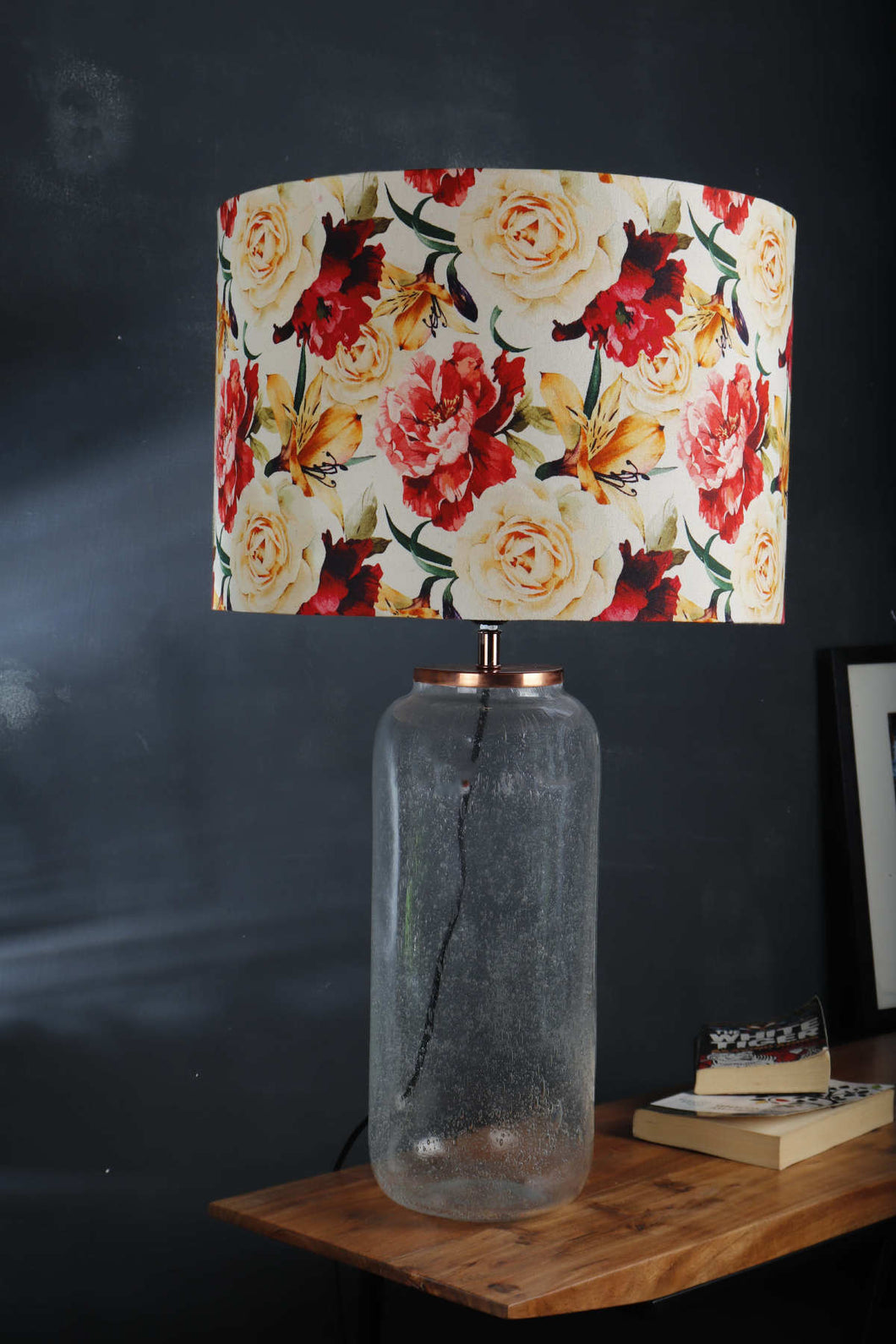 Fizz Jar Table Lamp with Flower Printed Lampshade