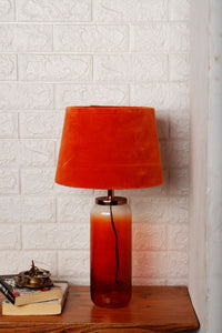 Twilight Table Lamp with 2 [ORANGE, PINK] Velvet Shade
