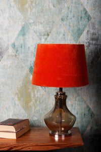 Shahi Jaam Table Lamp with 2 [ORANGE, PINK VELVET] Shade