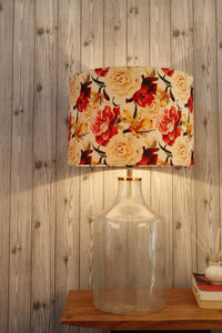 Fizzy Bottle Table Lamp with Flower Printed Lampshade