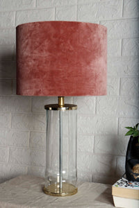 Facile Glass Table Lamp with 3 [WHITE, DUSTY PINK, GREEN STRIPE] Shade