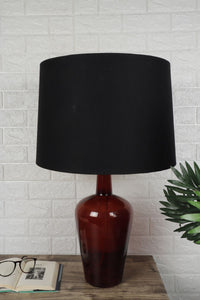 Merlot Red Table Lamp with 2 [BLACK, BIEGE] Tapered Shade