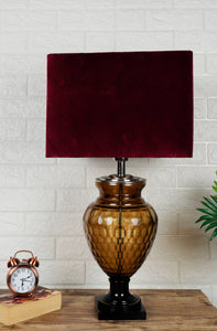 Strawberry Drop Table Lamp with Rectangular Velvet Lampshade