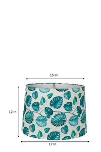 Leaf Print Teal Hanging Lampshade in [4 Shapes]