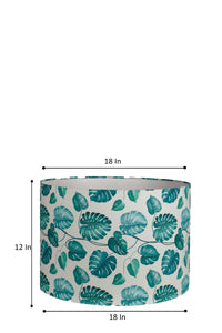 Leaf Print Drum Teal Lampshade for Table Lamp in [4 Sizes]