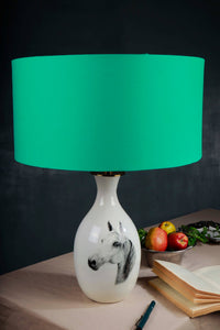 Racing Horse Terracotta Table Lamp with 2 [WHITE, MINT GREEN] Shade
