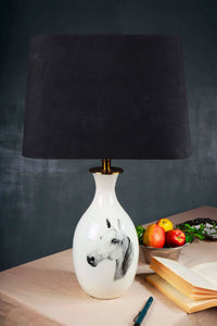 Racing Horse Terracotta Table Lamp with Trapezium Black Shade