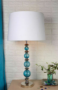Gum Ball Blue Table Lamp with 3 [BLACK, WHITE, JUTE BROWN, ] Shade