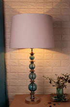 Load image into Gallery viewer, Gum Ball Blue Table Lamp with 3 [BLACK, WHITE, JUTE BROWN, ] Shade