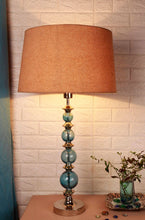 Load image into Gallery viewer, Gum Ball Blue Table Lamp with 2 [BLACK, BEIGE] Tapered Lampshade