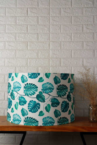 Leaf Print Drum Teal Lampshade for Table Lamp